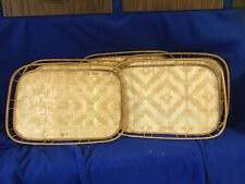 Lot of 5 Vintage Bamboo Tiki Bar Trays Woven Rattan Wicker Serving Trays 19x13
