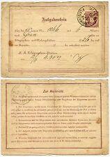 Autriche Télégraphe Papeterie 1886 fleischmarkt POSTMARK