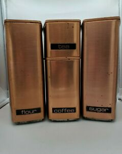 4 Vintage Mid Century Copper Lincoln Beautyware Canisters Flour Sugar Coffee Tea