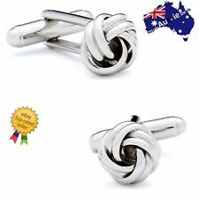 STAINLESS STEEL CUFFLINKS VINTAGE KNOT TWIST CUFF LINKS MENS WEDDING GIFT SUPERB