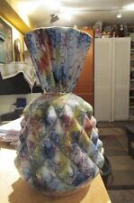 """Very Old Antique Capodimonte Italy Multicolored Diamond Ribbed 12"""" Tall Vase"""