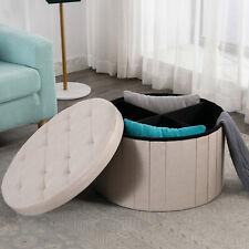 Round Folding Storage Ottoman Tufted Storage Box Foot Rest Stool Living Room New