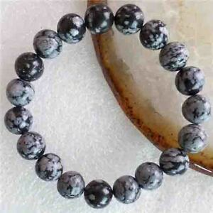 Fashion 10mm Black White Snowflake Obsidian Round Beads Stretchy Bangle Bracelet