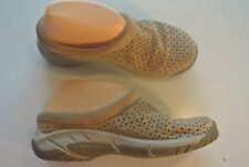 Merrell Brindle Tan Suede Mules Wedge Heels Clogs Flats Shoes Size 6.5 @ cLOSeT