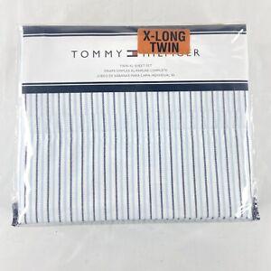 Tommy Hilfiger Twin XL 3 Piece Sheet Set Blue & White Stripes Brand New In Bag