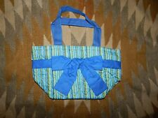 NEW NaRaYa Blue & Green Striped S/M Bag w Front Bow & Zippered Top