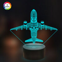 3D Illusion Night Lamp Aricraft Night Lights,16 Color Change with Remote Control