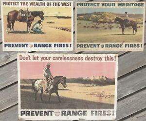 USFS PREVENT RANGE FIRES original POSTER lot (3) 1955 - 1958; Stan Galli, Hansen
