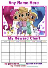 Personalised Childrens A4 Reward Behaviour Chart Shimmer & Shine / Stickers !(2)