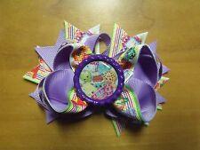 "Shopkins Handmade Boutique Layered Hair Bow 4.5"" Purple Rainbow Color"