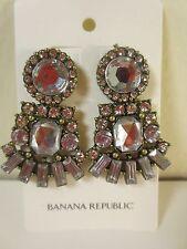 Banana Republic Antique Silver Crystal Cluster Fan Drop Earrings NWT $49.50