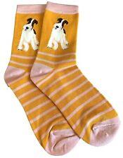 Ladies Socks Fox Terrier Dog Mustard Yellow Bamboo Cotton Pink Stripes Cute Dogs