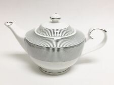 NEW GRACE'S TEAWARE WHITE+SILVER METALLIC POLKA DOT TEA,COFFEE POT,TEAPOT