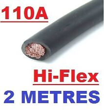 BLACK 16mm BATTERY STARTER WELDING CABLE 110 AMP  2m HI-FLEX  110A WIRE 2 METRES