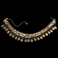 Gold Coin Waistband Sash Goddess Belly Chain Costume Belt Womens Belly Dancer