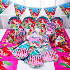 89Pcs Girls Mermaid Ariel Party Supply Tableware Gift Bags Birthday Plates Hats