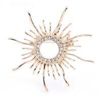 Stylish Vtg 50'S Style Gold Tone CZ Sparkle Celestial Sun Burst Brooch