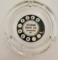 Vintage round Glass Astray Advertising Lessman Grain Company Shannon IL.