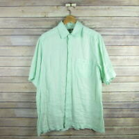 RAFFI Men's Short Sleeve Linen Button Front Shirt M Medium 50 Green