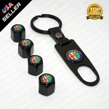 Black Car Wheel Tire Valve Dust Stems Air Caps Keychain With Alfa Romeo Emblem