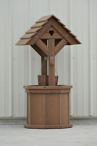4 ft. Poly Wishing Well; with Planter Bucket; Wood Looking, Antique Mahogany