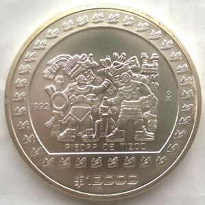 Mexico 1992 Pieora De Tizoc 10000 Pesos 5oz Silver Coin,UNC