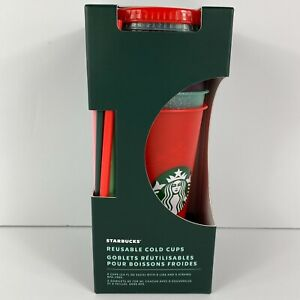 Starbucks Holiday Christmas 2020 14 Oz Cold Cups 5CT Straw Glitter Lids Reusable