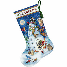 Cross Stitch Kit Gold Collection Snowman & Friends Christmas Stocking #70-08839