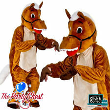ADULT HORSE MASCOT COSTUME Big Head Animal Pantomime Fancy Dress Outfit 8570
