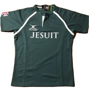 Gilbert Rugby ***New***Jersey Jesuit Green Large Button collar
