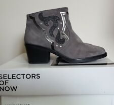 Bronx Suede Glitter Trim Ankle Boot, 5/38, Grey, BNIB