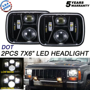 2x 120w 5x7'' 7x6'' LED Headlight Hi-Lo Beam Projector For Jeep Cherokee XJ YJ