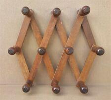 Ancien PORTE MANTEAUX CHAPEAUX accordéon BOIS 10 PATÈRES coat rack wood