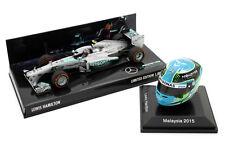 1/8 1/43 Minichamps Spark Lewis Hamilton Mercedes 2013 F1 Car USA 2015 Malaysia