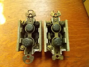 Two Antique Vintage Push Button Three-Way Light Switches c1900