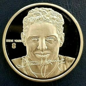 STEVE YOUNG Highland Mint .999 FINE SILVER Coin Medallion COA & Info Card