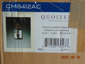 """NEW QUOIZEL CM8412AC CHALMERS 3-LIGHT WALL LANTERN OUTDOOR AGED COPPER 23"""""""