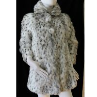 River Island Faux Fur Animal Print Fully Lined 3/4 Sleeve Collared Jacket Coat