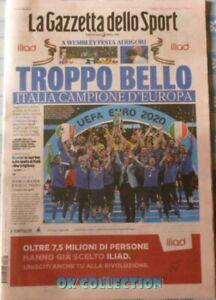 ITALY CHAMPION EUROPE Italian Sport Newspaper GAZZETTA DELLO SPORT 12-07-2021