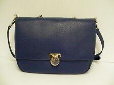 Versace borsa handbag vitello stampa alce satchel blue leather