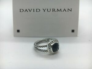 David Yurman Petite Albion Ring With Black Onyx and Diamonds Size 5