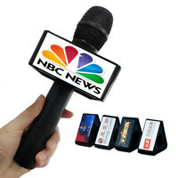 Custom Mic Logo Triangle Mic Flag TV Logo Handheld Interview Microphone Flag