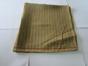 "USED BROWN STRIPED PATTERN COTTON 17"" POCKET SQUARE HANDKERCHIEF HANKY FOR MEN"