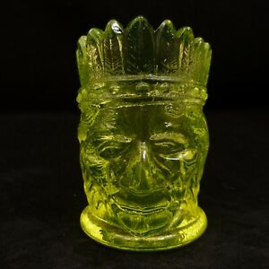 ST CLAIR Summit Yellow VASELINE Glass TOOTHPICK HOLDER Native INDIAN Matches