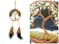 Stone & Copper Wire Tree of Life Dream Catcher Jadeite, Rhyolite Hanging Decor
