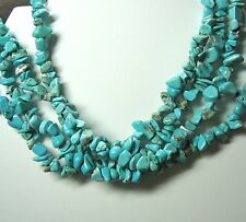 """Blue Turquoise Nugget Chip Bead Necklace 34-35"""" Continuous Strand Genuine Stone"""