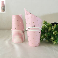 PINK GOLD FOIL POLKADOT PAPER CUP 200ML 20PK BABY SHOWER PARTY PAPER BEVERAGE