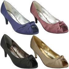 L2R978 Anne Michelle Damas Tacón Medio Resbalón En Satén Boda Noche Tribunal Zapatos