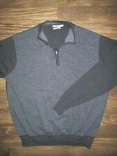 Peter Millar Mens 1/4 Sweater Merino Wool Blue Sz XL