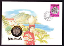 1983 Guatemala stamp & coin cover South America Native with pot on head Nature
